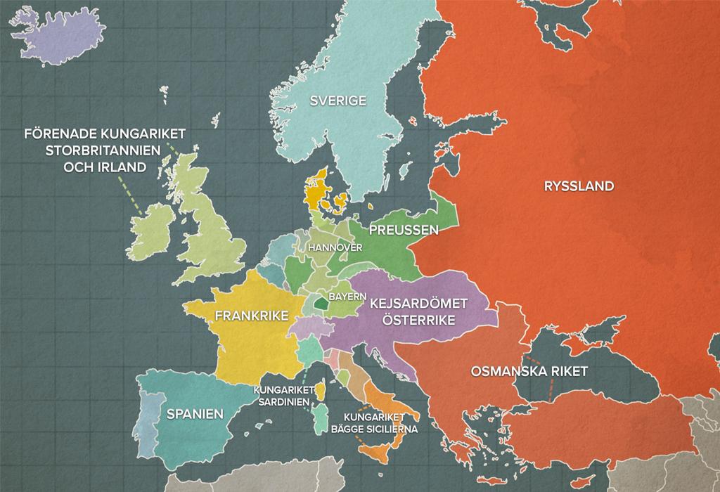 Karta Europa 1815.Studera Kartan